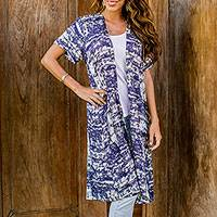Rayon short-sleeved jacket, 'Caribbean Paradise' - Long Blue and White Rayon Jacket from Indonesia