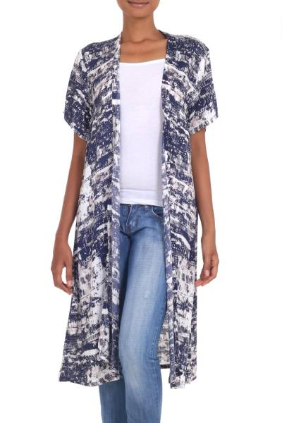 Long Blue and White Rayon Jacket from Indonesia