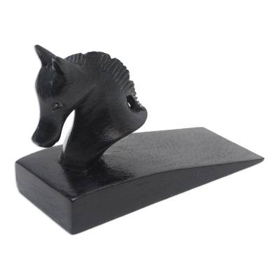 Wood door stopper, 'Handy Horse in Black' - Hand Carved Suar Wood Horse Door Stopper in Black from Bali