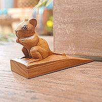 Wood door stopper, 'Charming Mouse in Brown' - Hand Carved Suar Wood Mouse Door Stopper in Brown from Bali