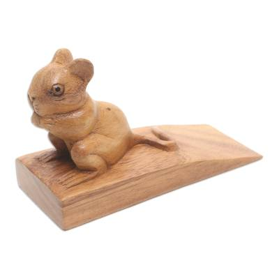 wood door stopper mouse in brownu0027 hand carved suar wood mouse