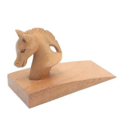 Hand Carved Suar Wood Horse Door Stopper in Brown from Bali