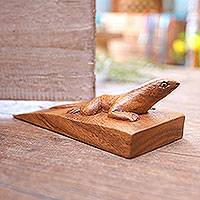 Wood door stopper, 'Handy Gecko in Brown' - Hand Carved Suar Wood Lizard Door Stopper in Brown from Bali