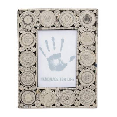 Recycled paper photo frame, 'Hypnotizing Grey' (4x6) - 4x6 Recycled Paper Photo Frame in Grey from Bali