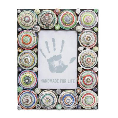 4x6 Recycled Paper Photo Frame with Multicolored Circles