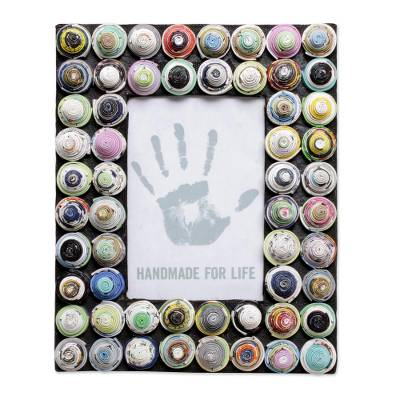 4x6 Recycled Paper Photo Frame with Circle Motifs from Bali