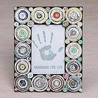 Recycled paper photo frame, 'Hypnotizing Circles' (4x6) - 4x6 Recycled Paper Photo Frame with Circle Motifs from Bali