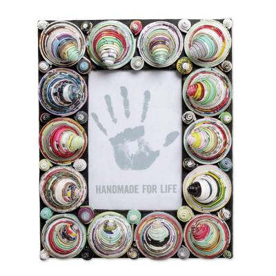 4x6 Recycled Paper Multicolored Cone Photo Frame from Bali