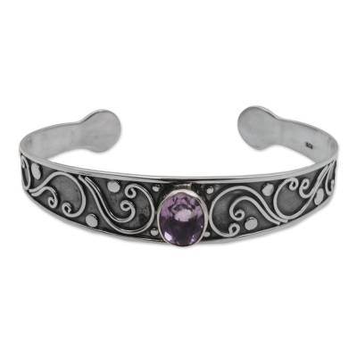 Amethyst and Sterling Silver Spiral Cuff Bracelet from Bali