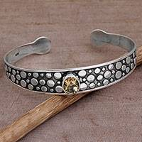 Citrine cuff bracelet, 'Falling Stones' - Citrine and Sterling Silver Dotted Cuff Bracelet from Bali