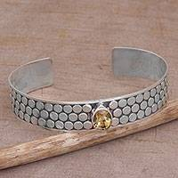 Citrine cuff bracelet, 'Bubble Bath' - Citrine and Sterling Silver Circle Motif Cuff Bracelet