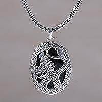 Onyx pendant necklace, 'Lord of Dragons' - Onyx and Sterling Silver Dragon Pendant Necklace from Bali
