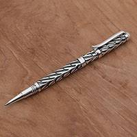Sterling silver pen, 'Writing Frond' - Hand Crafted Sterling Silver Ink Pen by Balinese Artisans