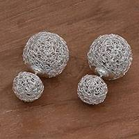 Sterling silver button earrings, 'Thread Nests' - 925 Sterling Silver Reversible Button Earrings from Bali