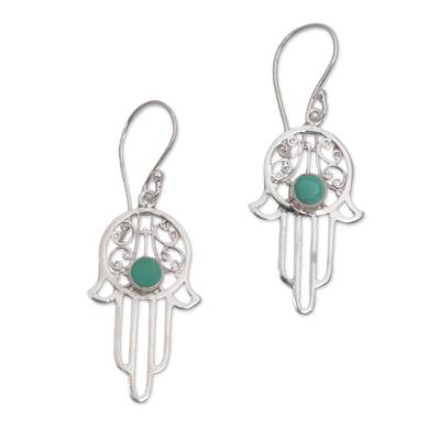 Reconstituted Turquoise Sterling Silver Hamsa Hand Earrings