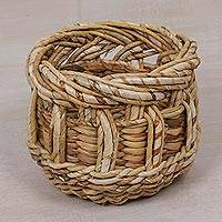 Banana leaf basket, 'Natural Storage' - Handcrafted Banana Tree Bark Basket from Bali