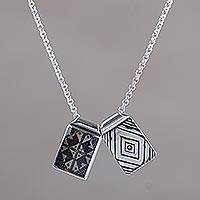 Sterling silver pendant necklace, 'Cultural Soul' - Long Sterling Silver Pendant Necklace by Balinese Artisans