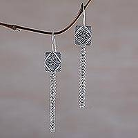 Sterling silver dangle earrings, 'Diamond Windows' - Sterling Silver Diamond Motif Dangle Earrings from Bali