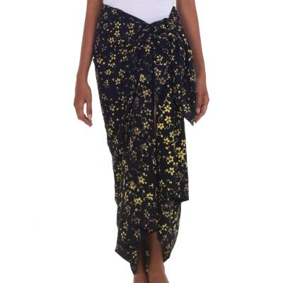 Hand Stamped 100% Rayon Floral Batik Sarong from Indonesia