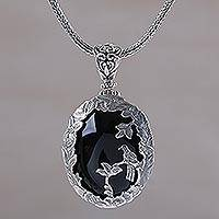 Onyx pendant necklace, 'Bird Watching' - Onyx and Sterling Silver Bird Pendant Necklace from India