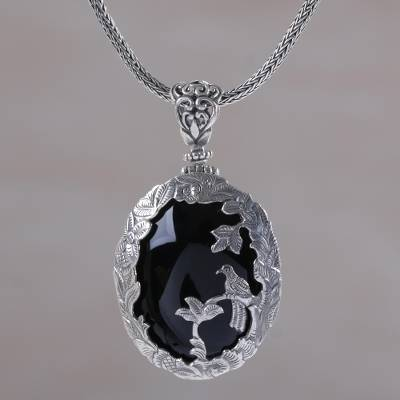 Onyx and sterling silver bird pendant necklace from india bird onyx pendant necklace bird watching onyx and sterling silver bird pendant necklace mozeypictures Image collections