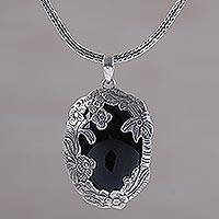 Onyx pendant necklace, 'Garden Arch' - Onyx Flower and Tree Pendant Necklace by Bali Artisans