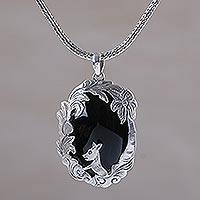 Onyx pendant necklace, 'Wondrous Garden' - Animal-Themed Silver and Onyx Pendant Necklace from Bali