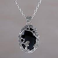 Onyx pendant necklace, 'Dark Woods' - Onyx and Sterling Silver Nature Themed Necklace from Bali