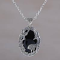 Onyx pendant necklace, 'Wading Heron' - Onyx and Sterling Silver Heron Pendant Necklace from Bali