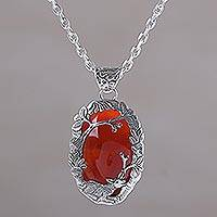Carnelian pendant necklace, 'Sunset Sanctuary' - Carnelian and Sterling Silver Lamb Necklace from Bali