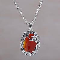 Carnelian pendant necklace, 'Sunset Butterfly' - Carnelian and Sterling Silver Butterfly Necklace from Bali