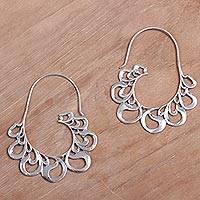 Sterling silver half-hoop earrings, 'Paisley Majesty' - Sterling Silver Paisley Motif Half-Hoop Earrings from Bali