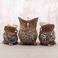 Wood figurines, 'Antique Owl Family' (set of 3) - Set of Three Hand Carved Suar Wood Owl Figurines from Bali