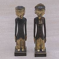 Bronze sculptures, 'Manten Matrimony' (pair) - Pair of Bronze Sculptures of a Man and Woman from Bali