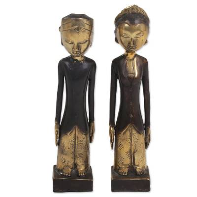 Pair of Bronze Sculptures of a Man and Woman from Bali
