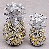 Wood decorative accents, 'Charming Pineapples in Gold' (pair) - Distressed Gold-Tone and White Wood Pineapple Accents (Pair)