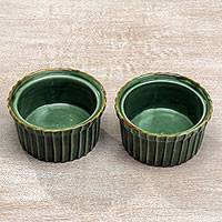 Ceramic ramekins, 'Emerald Delicacy' (pair) - Green Ceramic Ramekins from Indonesia (Pair)