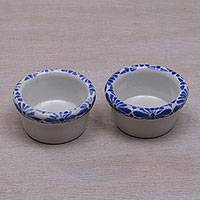 Small ceramic ramekins, 'Indigo Flowers' (pair) - Pair of Handcrafted Floral Ceramic Ramekins from Bali