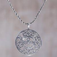 Sterling silver pendant necklace, 'Fire Shield' - Handmade Sterling Silver Pendant Necklace from Indonesia