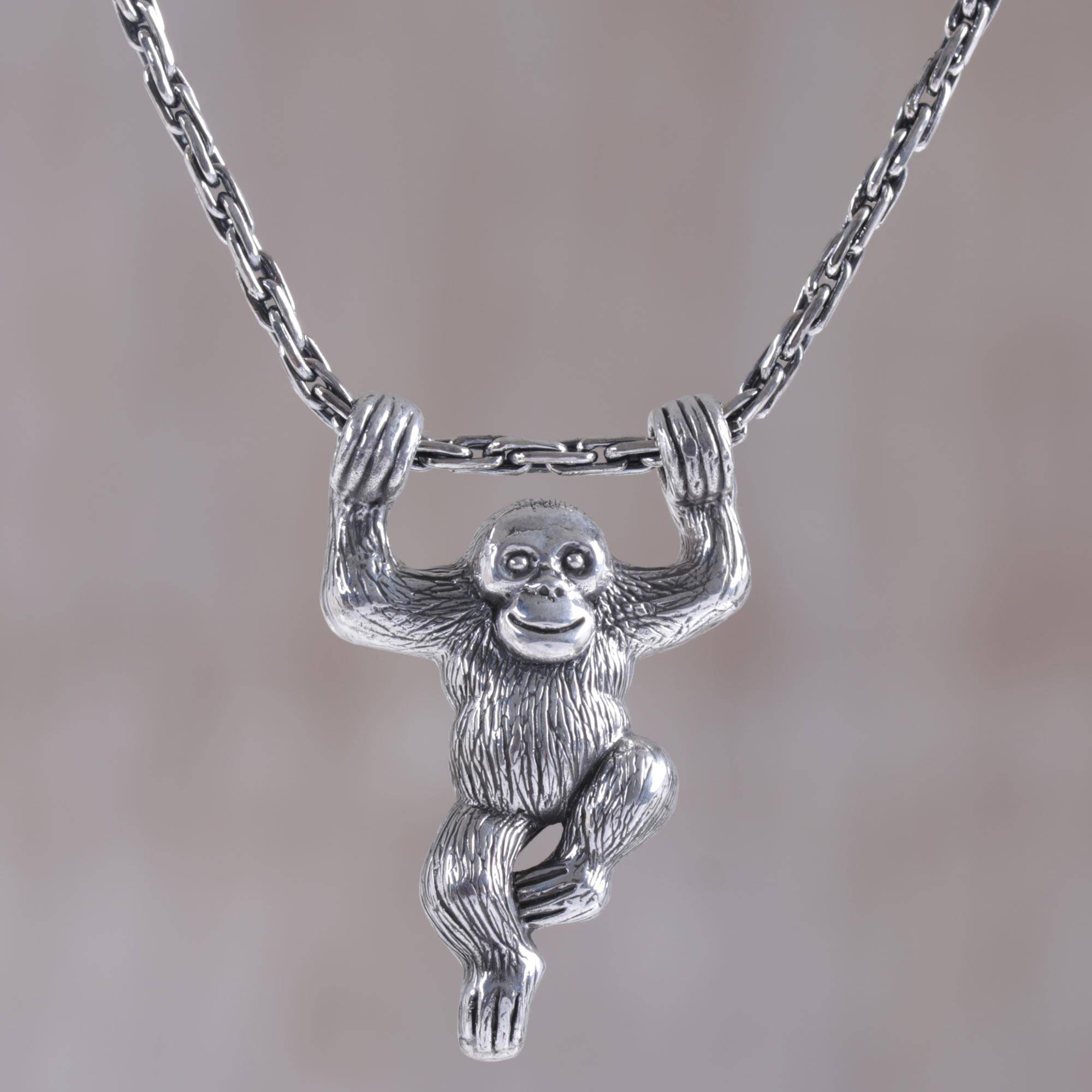 Sterling Silver Monkey Pendant Necklace from Indonesia Monkey