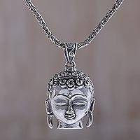 Sterling silver pendant necklace, 'Buddha's Peace' - Handmade Sterling Silver Buddha Pendant Necklace