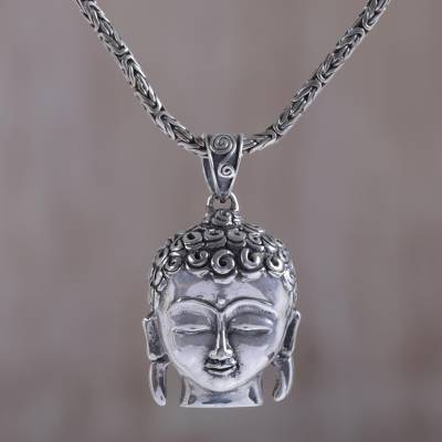 Handmade sterling silver buddha pendant necklace buddhas peace sterling silver pendant necklace buddhas peace handmade sterling silver buddha pendant necklace aloadofball Images