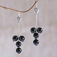 Onyx dangle earrings, 'Dark Galaxies' - Black Onyx and Sterling Silver Dangle Earrings from Bali