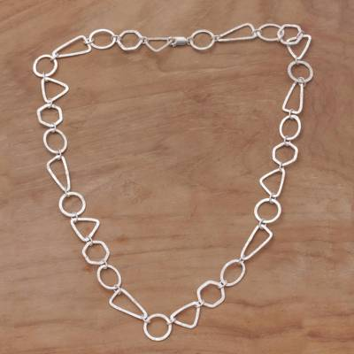 Sterling silver link necklace, Modern Simplicity