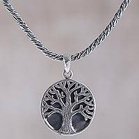 Sterling silver pendant necklace, 'Tree of Hope' - Sterling Silver Tree Pendant Necklace from Indonesia