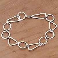 Sterling silver link bracelet, 'Modern Simplicity' - Handmade Sterling Silver Link Bracelet from Indonesia