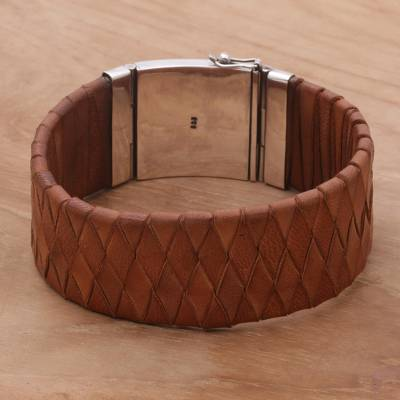 Leather wristband, 'Brown Bali Weave' - Balinese Brown Leather Wristband Bracelet with Silver 925