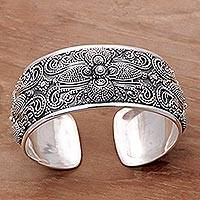Sterling silver cuff bracelet, 'Temple Blooms' - Sterling Silver Floral Cuff Bracelet Hand Crafted in Bali