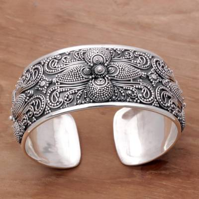 d8377bfaac147 Sterling Silver Floral Cuff Bracelet Hand Crafted in Bali, 'Temple Blooms'
