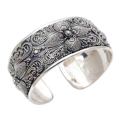 Sterling Silver Floral Cuff Bracelet Hand Crafted in Bali